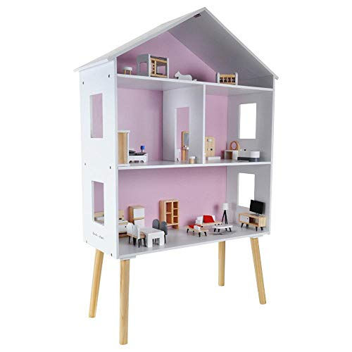 Bandits and Angels - Puppenhaus Modern Villa aus Holz mit 47 Möbeln (Höhe 115 cm)