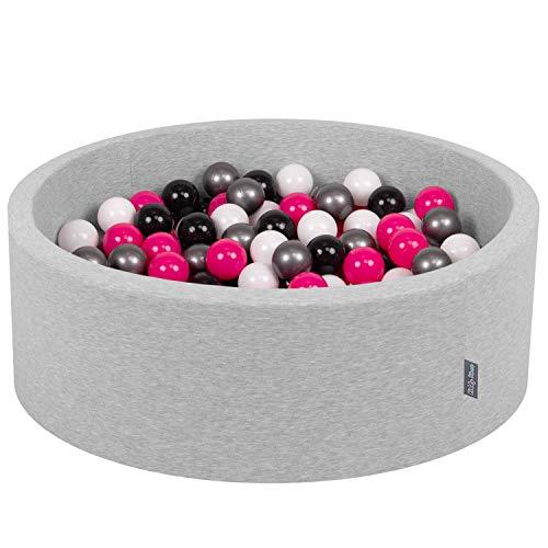 KiddyMoon 90X30cm/200 Balles ∅ 7Cm Piscine À Balles pour Bébé Rond Fabriqué en UE, Gris Clair: Blanc-Noir-Argenté-Rose Foncé