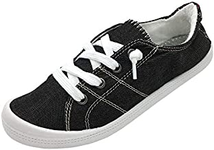 Women's Canvas Low Top Sneakers Lightweight Lace Up Flat Casual Shoes (9, Black)