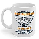 Pot Builder Gifts Taza de café de cerámica blanca de 11 oz para...