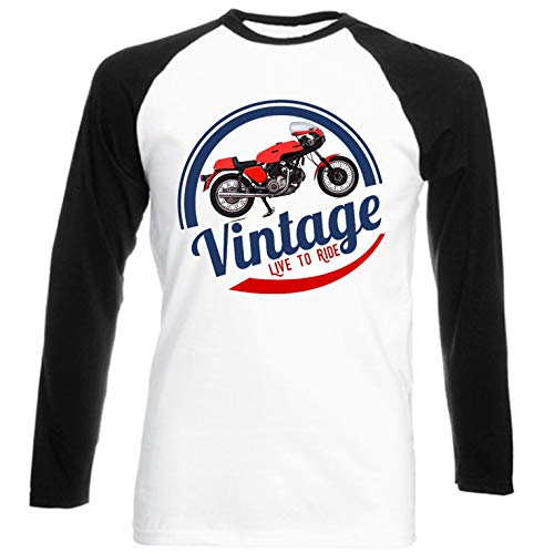 Teesandengines Ducati 750 Sport Vinatge Live to Ride Camiseta de Mangas Negra largas T-Shirt Size Small