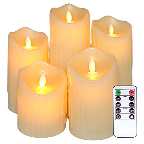Eldnacele Flickering Flameless Candles Dancing Flame Ivory Real Wax Dripping Candles with Timer and Remote Control Set of 5 Moving Wick LED Candles for Birthday Wedding Bar and Home Decoration