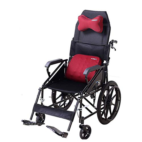 L.BAN Ultraleicht, faltbar mit Verstellbarer Rückenlehne, Verstellbarer Kopfstütze Multifunktions-tragbarer älterer, komfortabler, glatter, Fester Push-Rollstuhl