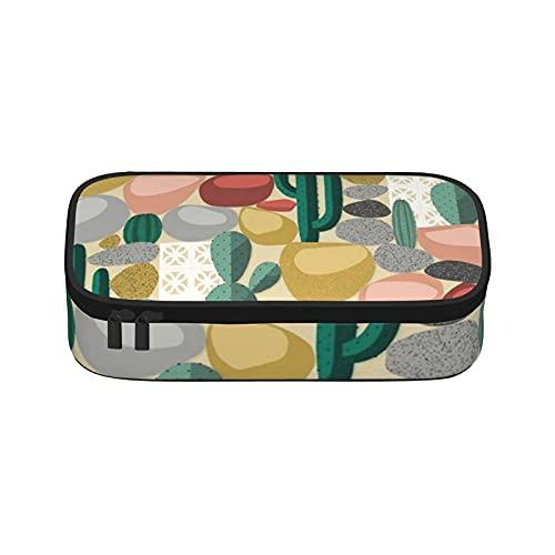 Modernes Federmäppchen mit Kaktus-Design, großes Fassungsvermögen, Schreibtisch-Organizer mit Reißverschluss, für Jungen, Mädchen, Teenager, Studenten, Schule und Büro