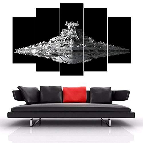45Tdfc Lona Murales Cuadro Moderno en Lienzo 5 Piezas XXL Star Wars USS Destructor Universe Space HD Arte De Pared Imágenes Modulares Sala De Estar Decoración para El Hogar 100X55Cm