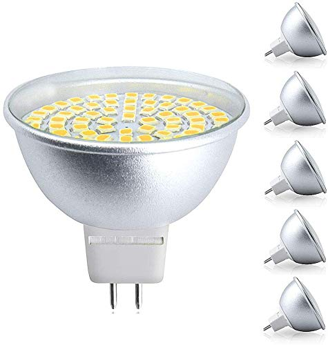 Bonlux 5W MR16 GU5.3 / GX5.3 220V 500 lumen 120 °LED Ampoule Projecteur Spotlight de Plafond Remplacement d'ampoule Halogène 50W Éclairage de Rail Encastré Blanc Naturelle 4000K(lot de 5,non-dimmable)