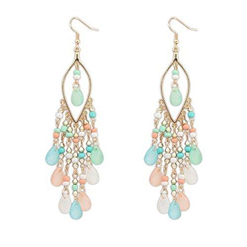 Yivise Pendientes Mujeres Bohemian Big Circle Hook Earrings Cuentas de Colores Gotas para Los Oídos Cuelgan Borlas Fashion Ethnic Earrings(C)