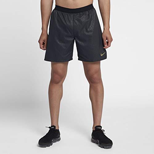 "Nike Men's Flex Stride 7"" Shorts, Black/Black/(Metallic Gold), 2XL"
