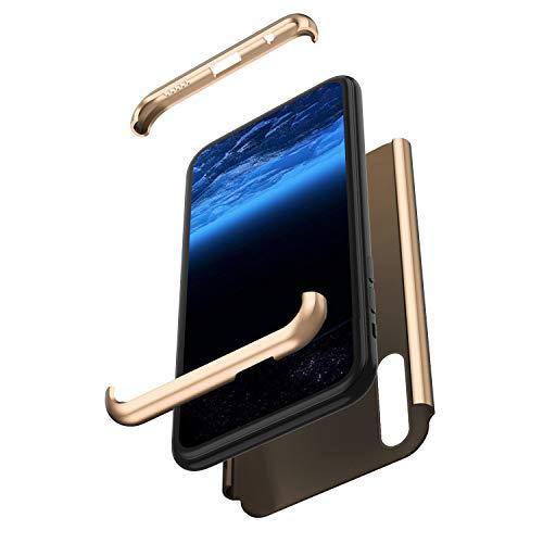 Saceebe Compatible avec Huawei P Smart Z Coque Intégrale de Protection 360 Degrés Avant et arrière Housse Double Faces Case PC Rigide Coque Anti Choc Hybride Robuste Full Body Etui,Or