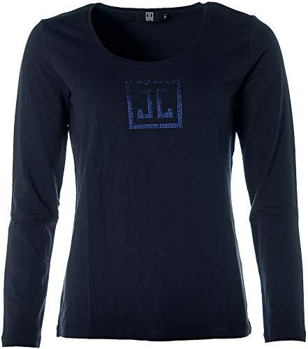 JETTE Damen Langarm Shirt Strass Glitzer Navy 40