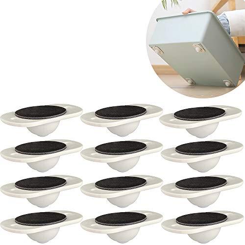 Paste Type Universal Pulley (4/8/12/16 Pack) 360º Drehbare Selbstklebende Rollenräder für Aufbewahrungsbox, Möbel (12 Stück)