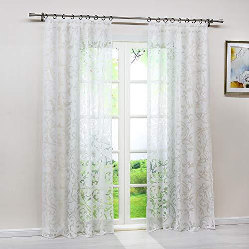 Heichkell Voile Gardinenschal mit Kräuselband Transparent Vorhang mit Ausbrenner Design Wohnzimmer Gardine 1PC Store BxH 140x245cm Weiß