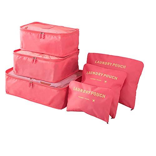 LSJZZ Leggero 6-Piece Cube Sistema, Viaggi Bagagli Packaging dell'organizzatore Lavanderia Sacchetto dei Bagagli Compression Bag,Rosa
