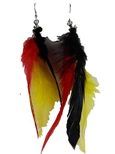 Ohrringe Ohrhänger Hänger Edelstal Deutschland Fahne Flagge Fußball Turnier Feder 3 farbig Perlen XXL 6292