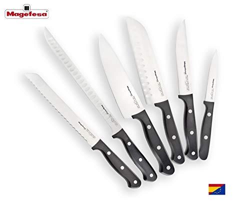 Cuchillo MAGEFESA Roda Acero Inoxidable AISI 420 Molibdeno Vanadio, Mango ergonómico, fácil Limpieza, Triplemente remachados garantizando una Mayor Seguridad (Pack 6 Cuchillos)
