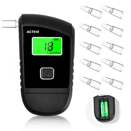 Breathalyzer, Breath Alcohol Tester for Personal & Professional Use, Breathalizer for Alcohol with 10 Mouthpieces
