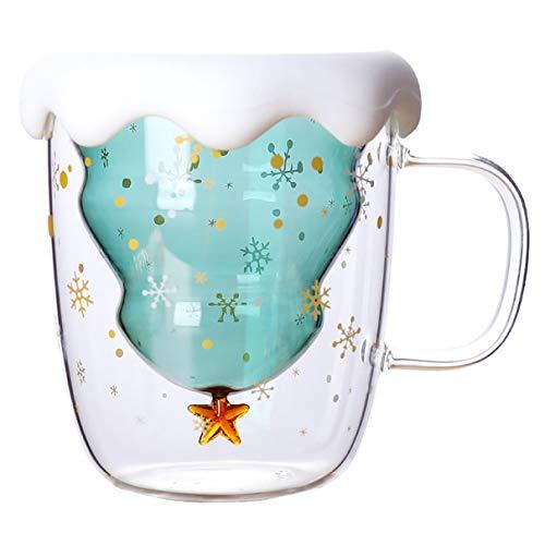 Kaczmarek Árvore de Natal de vidro anti-escaldadura de camada dupla 300ml Céu estrelado Caneca de café com isolamento térmico Copo de leite para café da manhã