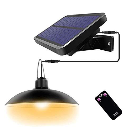 ENCOFT Lampadario Solare Esterno con Telecomando Lampada a Sospensione 16 LED Impermeabile IP65 Illuminazione Solare Separabile 3M per Giardino Balcone Campeggio, Luce Bianco Caldo 3500K Nero
