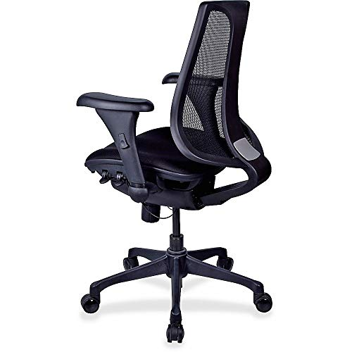 Lorell Posture Lock Mesh Back Swivel Office Chair in Black