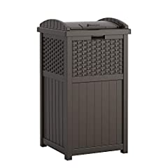 OUTDOOR TRASH CAN WITH LID: Outdoor trash can has a capacity of 30 to 33 gallons that is ideal for backyards, patios, or decks DURABLE: Constructed with durable resin that resists fading and keeps water out through every season FUNCTIONAL DESIGN: Lid...