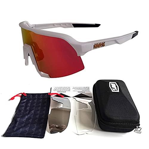 Greatangle-UK Gafas de Sol de Ciclismo Sombras de Bicicleta de Alta definición Gafas de Sol Gafas de Bicicleta al Aire Libre Gafas Accesorios de Bicicleta Blanco + Rojo 145 * 62 * 140 mm