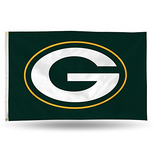 NFL Rico Industries 3-Foot by 5-Foot Single Sided Banner Flag with Grommets, Green Bay Packers