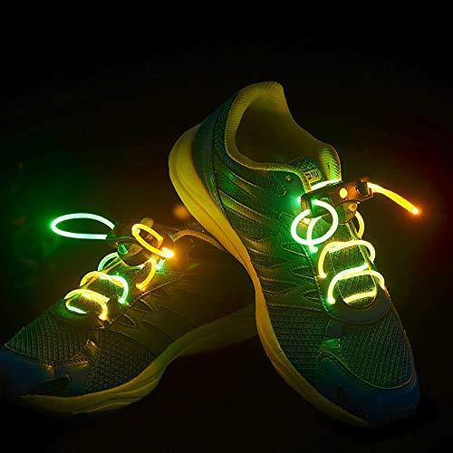 KAILUN Led Cordones Brillantes Cordón Luminoso Encaje Intermitente para Niños Decoración De Ocio Danza Deportes Corriendo Luz De Advertencia,Green