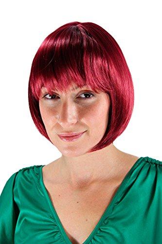 WIG ME UP - Perruque Pour Femme, Carré Plongeant, Couleur Aubergine/Rouge, Coupe Lisse Et Arrondie 25Cm