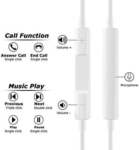 Lighting Connector Earbuds Earphone Wired Headphones Headset with Mic and Volume Control,Compatible with Apple iPhone 11 Pro Max/Xs Max/XR/X/7/8/8 Plus Plug and Play Distribution Panels