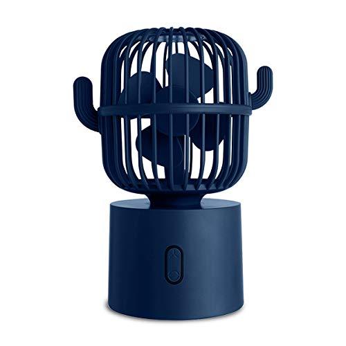 Tapusen Ventilador Escritorio USB Personal pequeño, Mini Ventilador Mano Cactus, Ventilador de Mesa portátil Recargable de rotación automática de 80 Grados, silencioso de 3 velocidades, Sala/Oficina