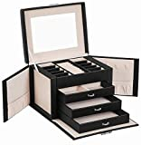SONGMICS Jewelry Box, Jewelry Organizer 4 Levels, Lockable Jewelry Storage Case with Trays, Velvet Lining, Black UJBC159B01