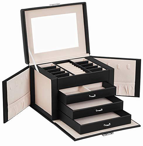SONGMICS Caja joyero, Caja para Joyas, Organizador de Belleza de 4 Niveles, Caja organizadora con bandejas, Funda de Terciopelo, Negro JBC159B01