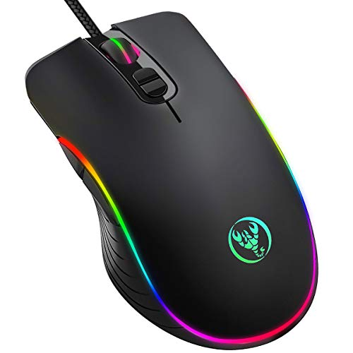 Gaming Mouse Wired, KKUYI Wired Backlit Mice Ergonomic Laptop PC Gaming Mouse USB Computer Mice with Breathing Light, 7 Programmable Buttons,6400DPI Adjustable