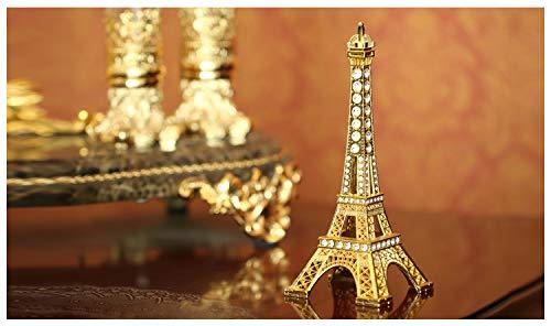 shunlidas Retro Mode Auto Büro Töpferei Holztisch Paris Tour Eiffel Romantique, Ornements De Cadeau De Vacances De La Tour Eiffel De Paris, 13,5 Cm d'or