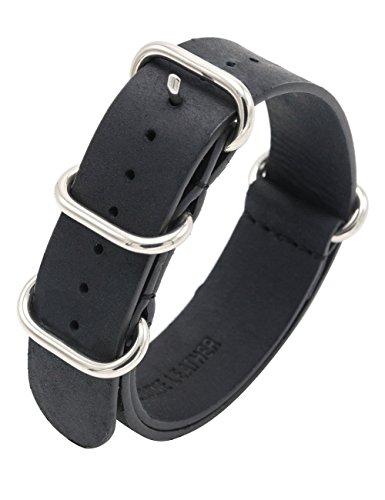 Correa Reloj Cuero Nato 18mm 20mm 22mm Crazy Horse Correas de Reloj Zulu Militar Bandas de Reloj de Cuero Genuino con Hebilla de Acero Inoxidable (22mm, Negro)