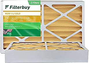 FilterBuy 16x25x4 Air Filter MERV 11, Pleated HVAC AC Furnace Filters (2-Pack, Gold)