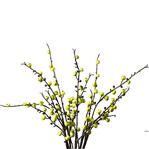 Swing around Adornos De Flores Artificiales De Estilo Europeo, Ramas De Frutas De La Begonia, Sala De Estar, Mesa De Centro, Mesa De Comedor, Decoración De Arreglos De Flores,Verde,5 Bundles
