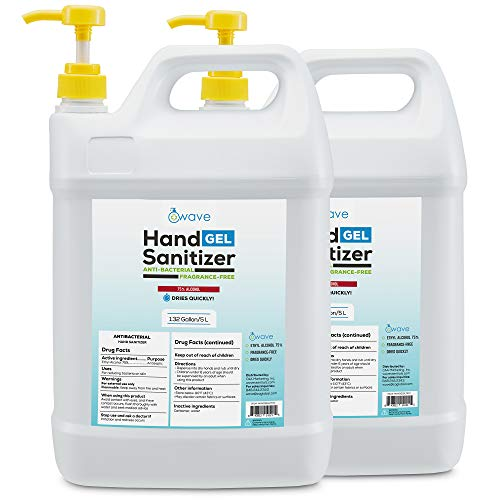 Wave Bulk Gel Hand Sanitizer | Advanced No-Rinse Gel | 75% Alcohol | 2 Pack of 1.32 Gallon/5L Bottles with Easy to Use Pumps