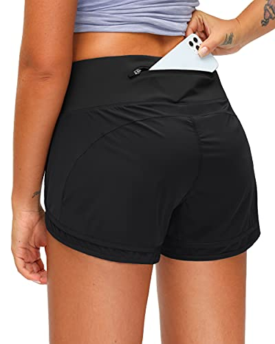 Women's Running Shorts with Zipper Pocket 3 Inch Quick-Dry Workout Athletic Gym Shorts for Women