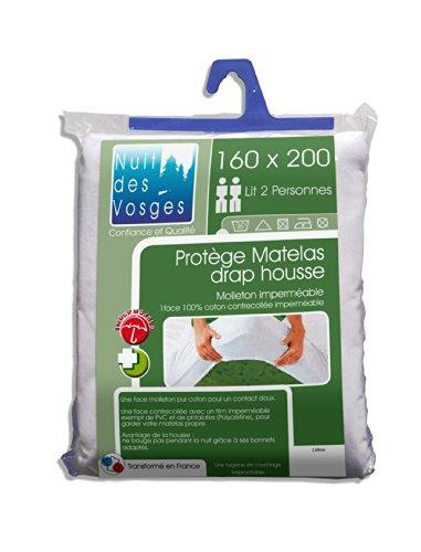 Nuit des Vosges 2035438 Céline waterdichte matrasbeschermer katoen wit 200 x 160 cm