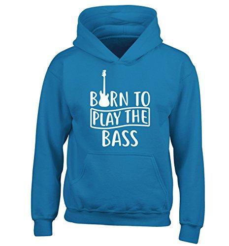 Nato per giocare il basso| Felpa con cappuccio per bambini | Età 3-4 anni fino a 12-14 anni | Flox Creative Blu scuro 12-14 Anni 86 cm
