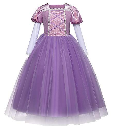 Eleasica Vestido Princesa Rapunzel Infantil Disfraz Lila Princesa Cosplay Rapunzel Manga Larga Blanco Evento Teatral Baile de Gala Regalo Cumpleaos Carnaval para Nia Pequea 3 a 8 aos