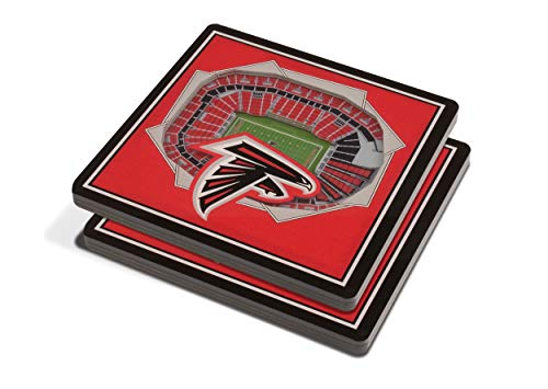YouTheFan NFL 3D Team StadiumViews 4x4 Coasters - Set of 2, Team Color, 4' x 4' x .3125', Atlanta Falcons