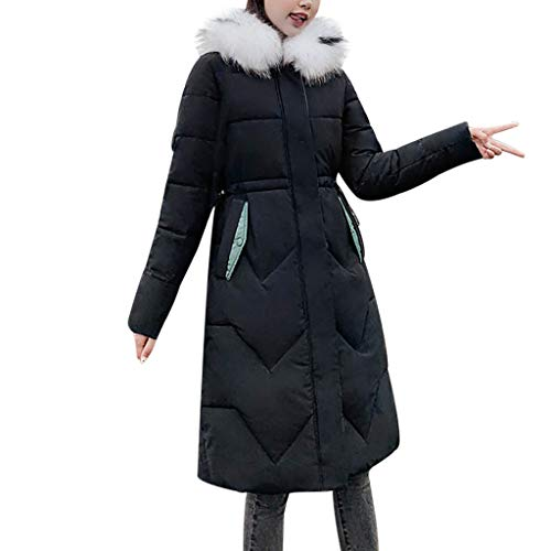 Smoxx Women Solid Casual Outerwear,Thicker Winter Warm Slim Down Jacket Coat Long Loose Overcoat Black