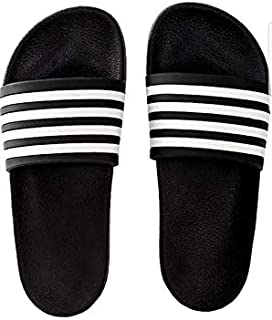 MOU Slides for Men Black Flip Flop Slippers with White Stripes
