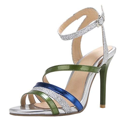 Lydee Donne Moda Scarpe estive Cinturino alla Caviglia Sandals Tacchi a Spillo Multicolor Sandals Shoes Gladiator Heels Green Dimensione 44