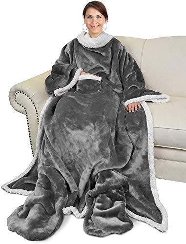 Catalonia TV Decke Sherpa Kuscheldecke mit Ärmel- und Fußtaschen Vlies-Decke große Wickeldecke zum Überwerfen, für Damen und Herren, 190x 135cm, Grau