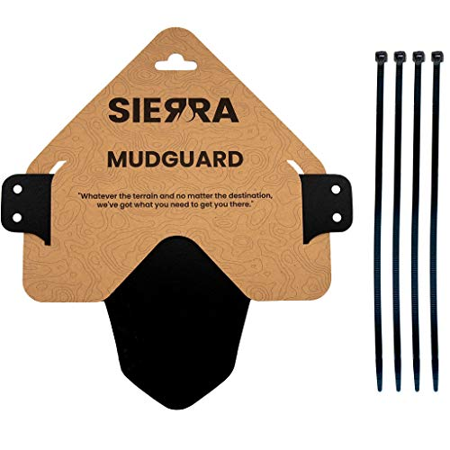 Sierra Mountain Bike Mudguard for Front or Rear Tire - Fits 26', 27.5', 29', and Plus Tires - Includes Zip Ties