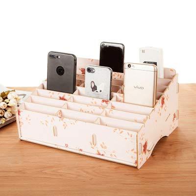 AQZMEA Holz Handy Aufbewahrungsbox DIY Kreative Super Große Kapazität Make-up Box groß Warme Frühlingsblumen