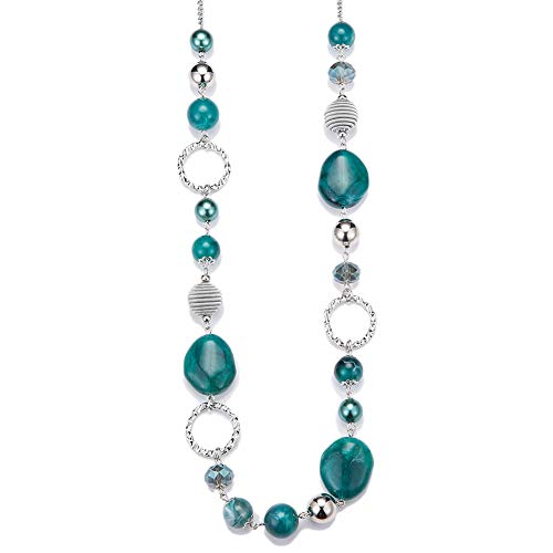 PEARL&CLUB Long Beaded Necklaces for Women - Sweater Chain Fashion Jewelry Necklace Gifts for Women (Sea Green)